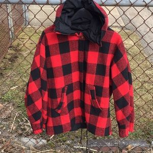 Jackets & Blazers - Red & Black Plaid Jacket Reversible, Size L